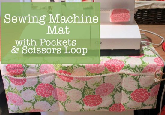 Sewing Machine Mat with pockets and loop for scissors