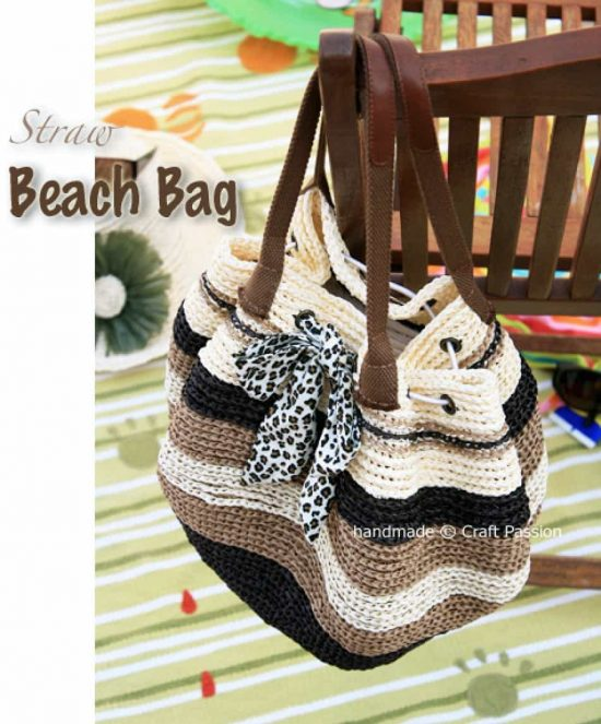 Straw Crochet Beach Bag Free Pattern