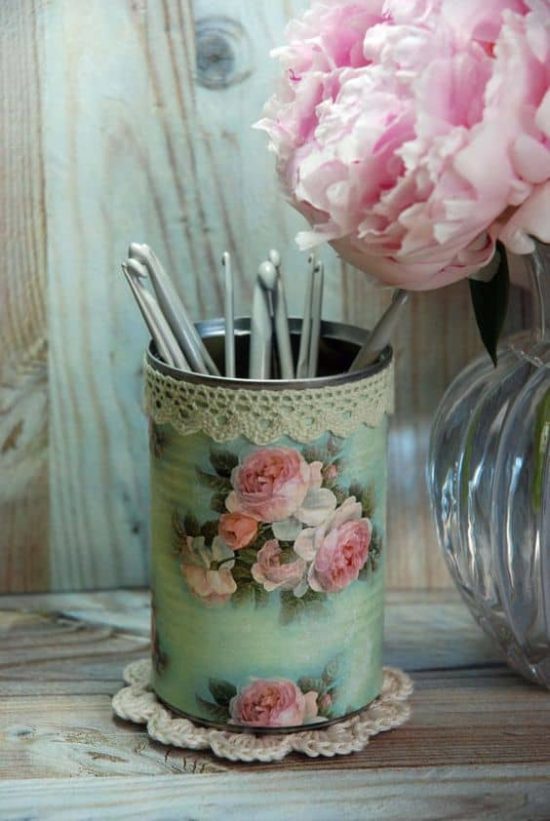 Tin Can Decoupage with lace trim