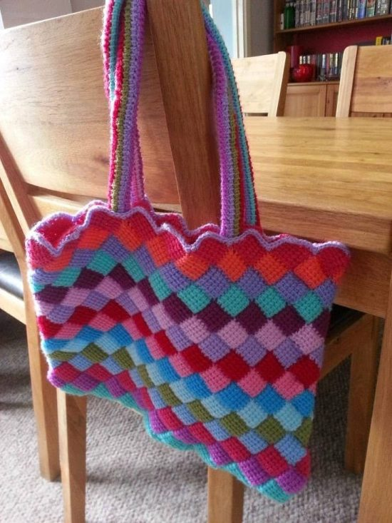 Tunisian Crochet Entrelac Tote Bag Free Patterns