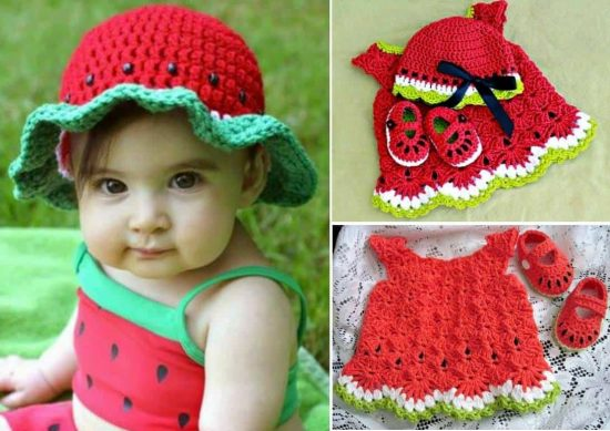 Watermelon Crochet Free Patterns - watermelon Hat, watermelon Dress, Watermelon Booties