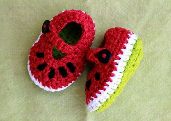 Watermelon Mary Jane Crochet Shoes Free Pattern