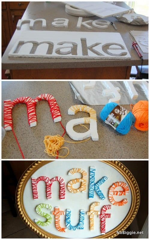 Yarn Letters 'Make Stuff' Sign