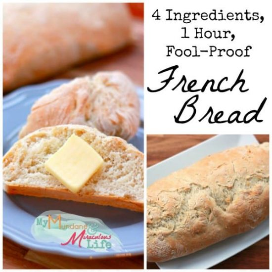 4 Ingredient 1 hour Fool Proof French Bread