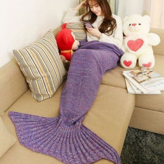 Crochet Knitted Mermaid Tail Blanket