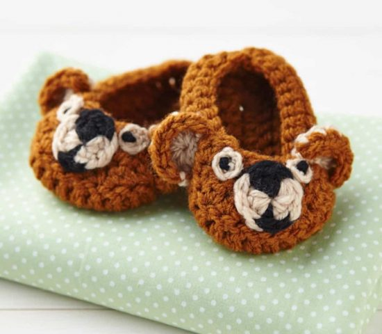 Crochet Teddy Bear Baby Booties Free Pattern