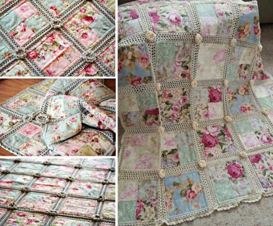 Crochet and Fabric Quilt Free Pattern