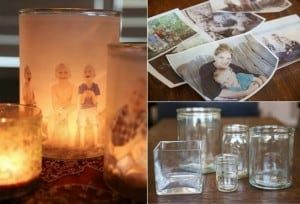 Family Luminary Candles - Upcycled Photo Candle Jars