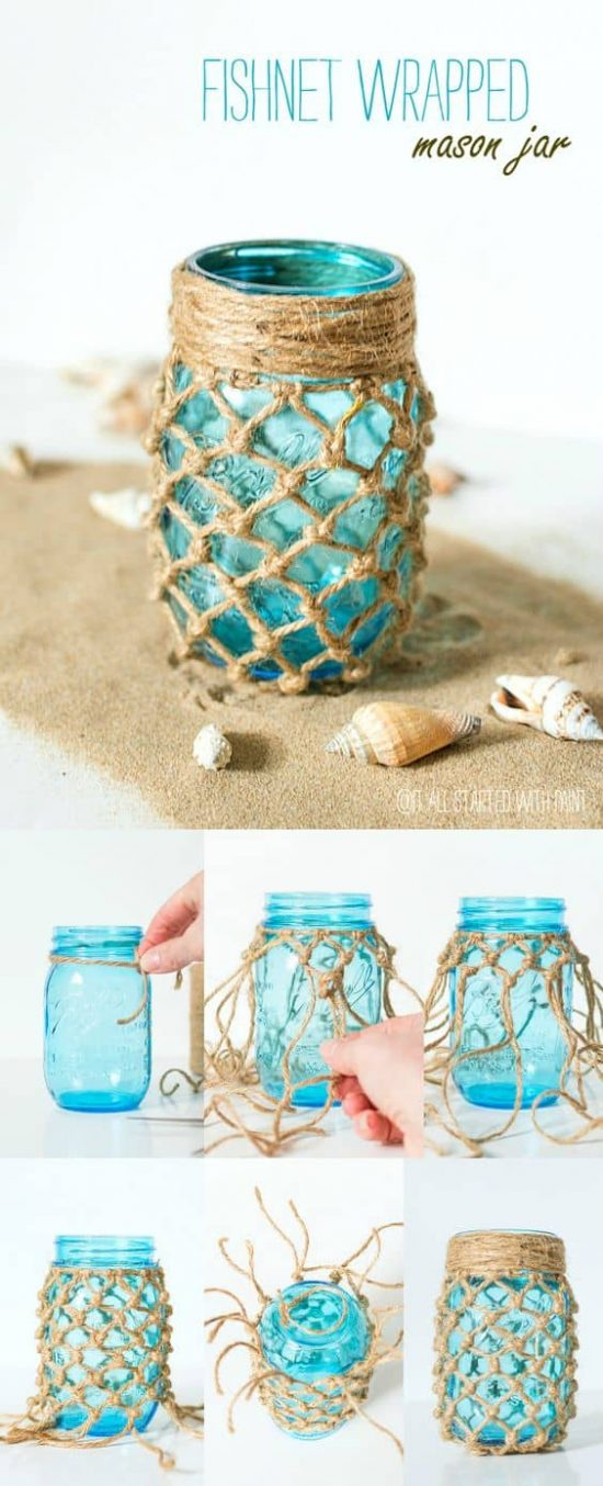 Fishnet Wrapped Mason Jars