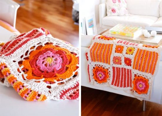 Orange Blossom Crochet Blanket Free Pattern