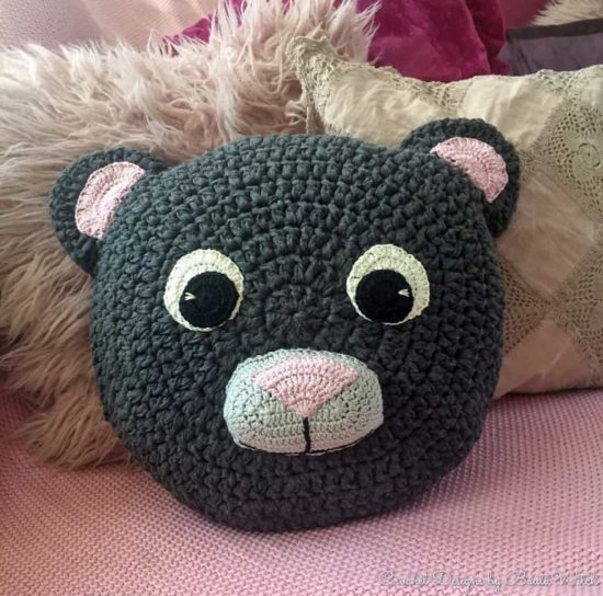 Teddy Bear Crochet Pillow Free Pattern
