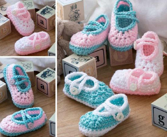 Two Tone Crochet Baby Booties Free Pattern