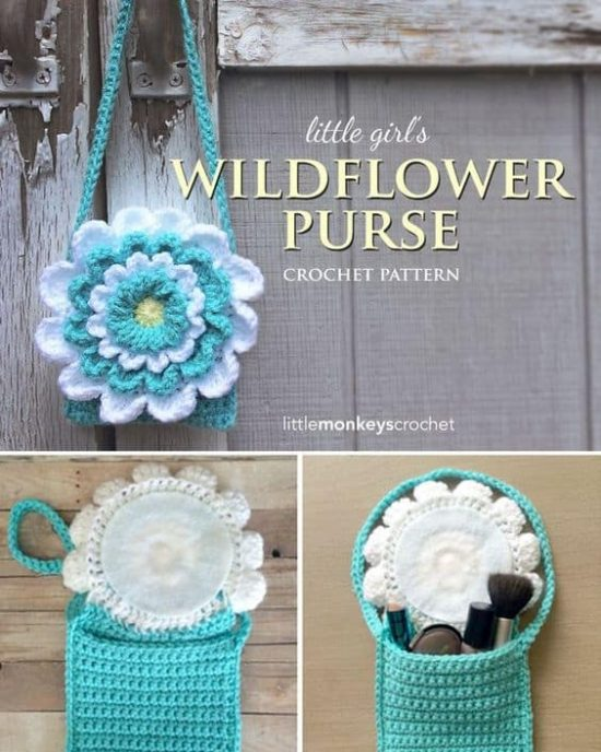 Wildflower Crochet Toddler Purse Free Pattern