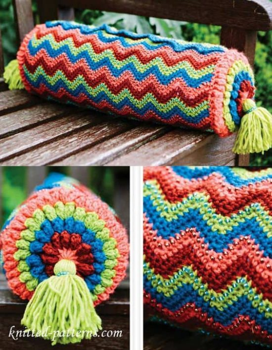 Crochet Colourful Cushion Free Pattern