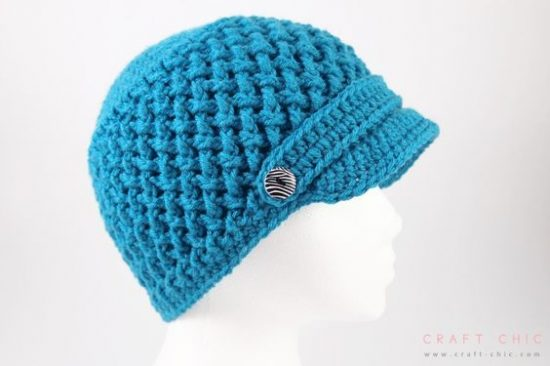 Criss Cross Crochet Newsboy Hat Free Pattern