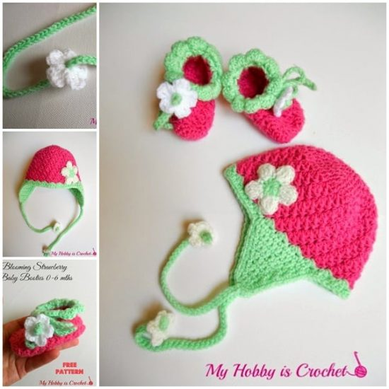 Crochet Strawberry Slippers and Hat Free Pattern
