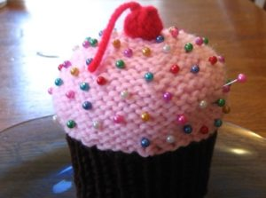 Cupcake Pin Cushion Knitted Free Pattern