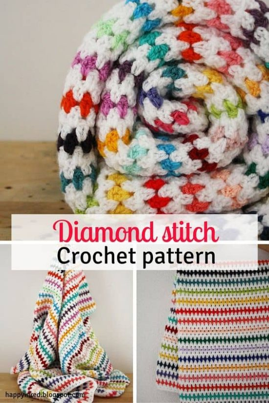 Diamond Stitch Crochet Blanket Free Pattern