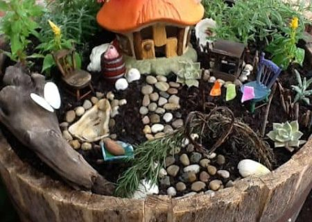 Fairy Garden Wine Barrel