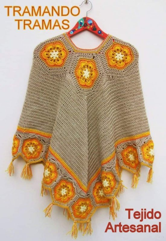 Hexagonal Crochet Poncho