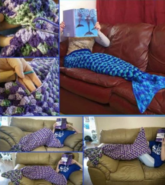 Mermaid Lapghan Crochet Tail Blanket - Adult Size Free Pattern