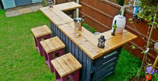 Pallet Bar with Stools