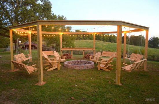 This ... - Pergola Fire Pit Swings DIY Project The WHOot
