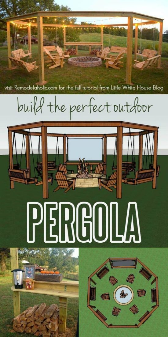 Pergola fire pit swings diy project the whoot this structure is simple in design and the best part you can do it yourself solutioingenieria Gallery