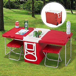 Rolling Cooler and Picnic Table and 2 Chairs