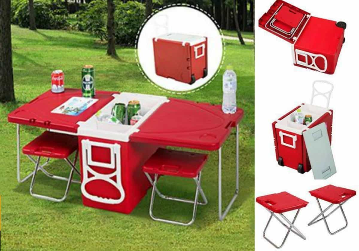Rolling Cooler and Picnic Table and Chairs