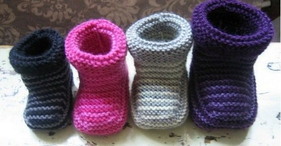 Knitted Striped Baby Booties Pattern