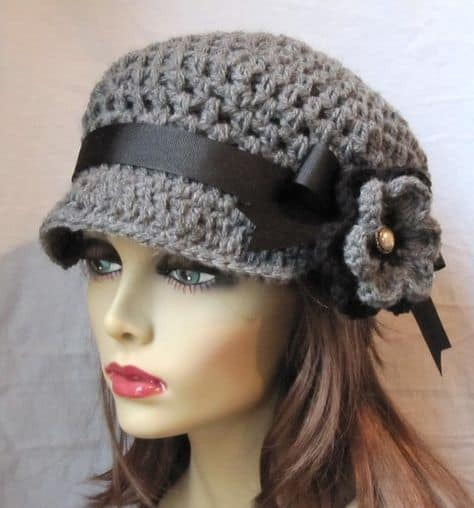 Womens Newsboy Crochet Hat