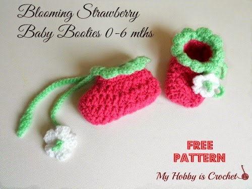 blooming strawberry baby booties free crochet pattern