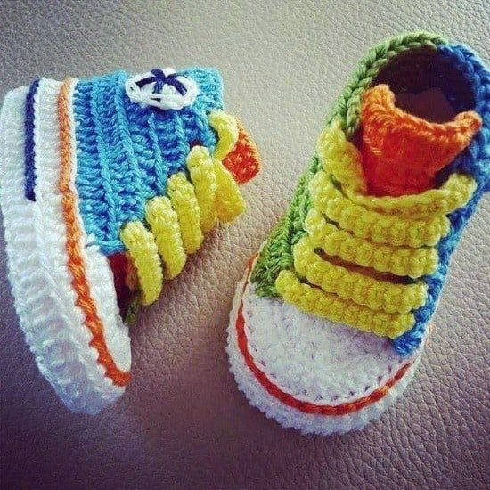 Crochet Converse Baby Booties Pattern Free Video Tutorial