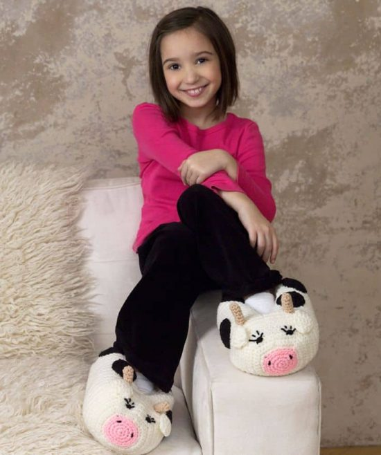 Crochet Cow Slippers Free Pattern