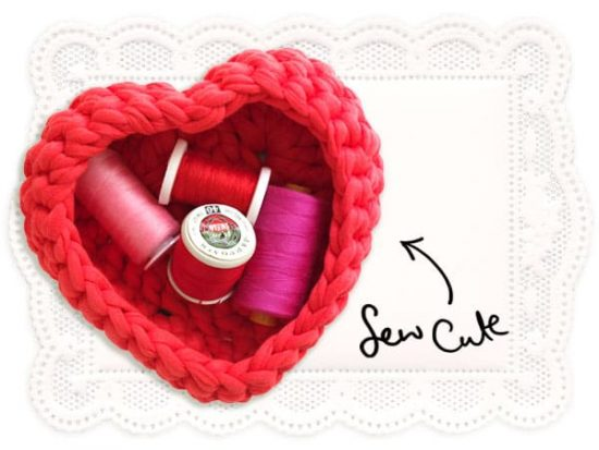 Crochet Heart Shaped Storage Boxes Free Pattern