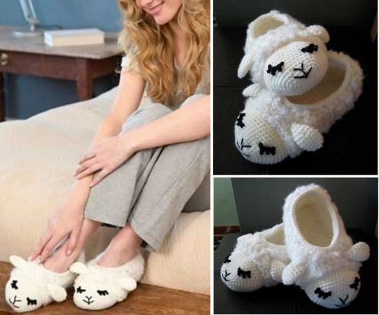 Crochet Lamb Slippers Free Pattern