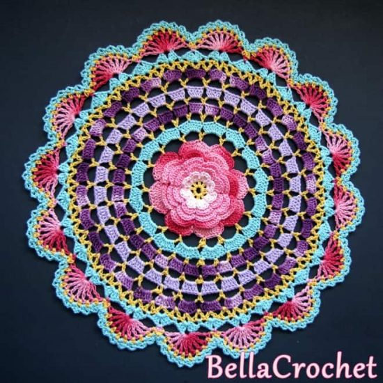 Crochet Rose Mandala Free Pattern
