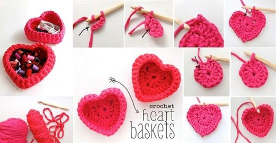 DIY Crochet Heart Storage Boxes
