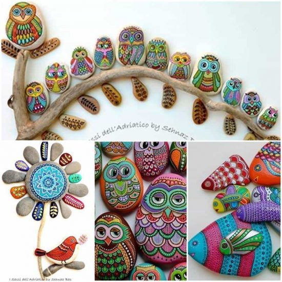 Painted Owl Pebbles