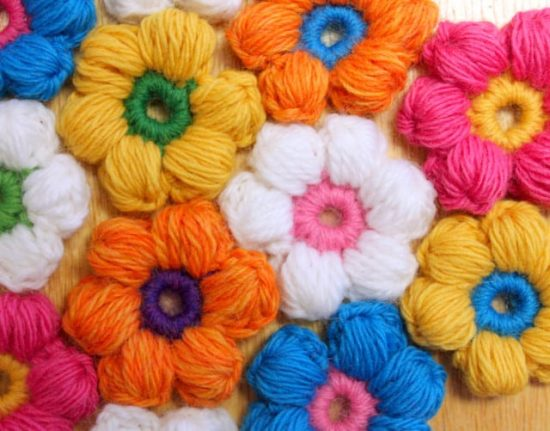 Crochet Puff Flower Blanket Pattern