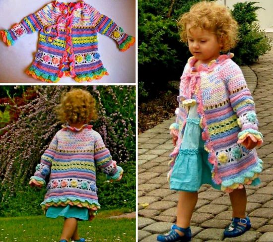 Crochet Colourful Girls Summer Coat Free Pattern