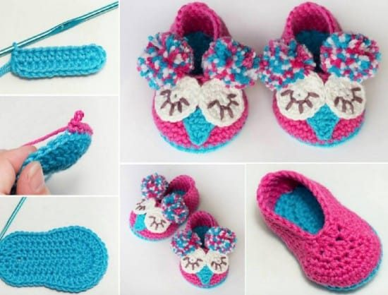 Crochet Owl Booties Free Pattern