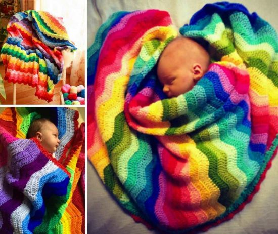 Crochet Rainbow Ripple Blanket Free Pattern
