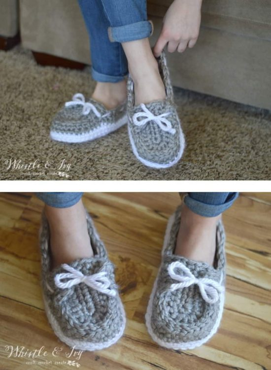 Crochet Womens Chunky Boat Slippers Free Pattern