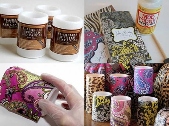 Decoupaged Candles