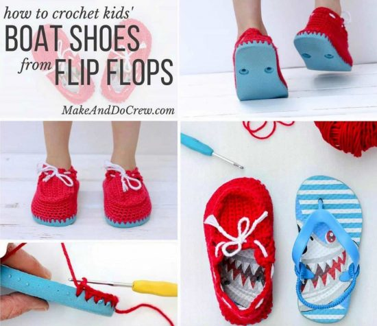 How To Crochet Kids Boat Shoes From Flip Flops