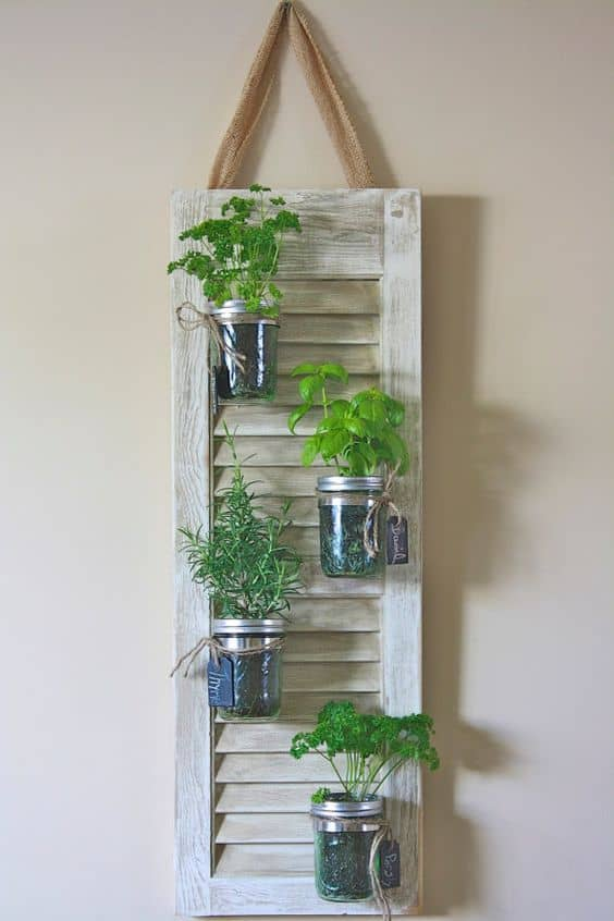 Recycled Shutter Mason Jar Herb Planter