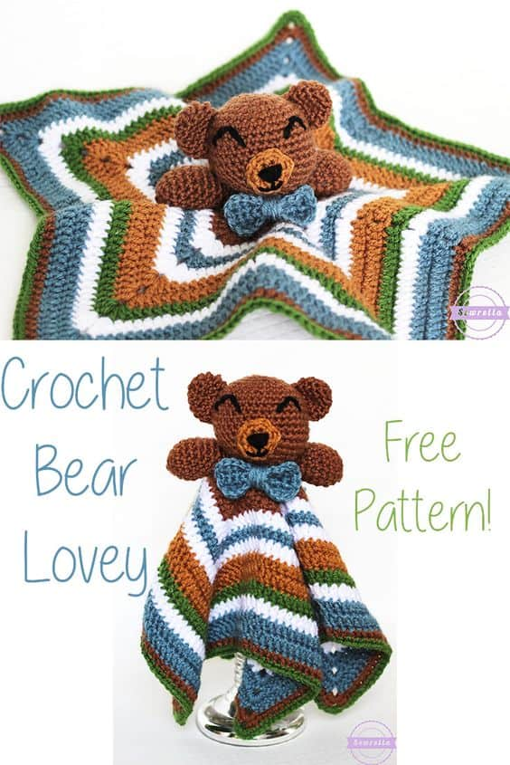 Crochet Bear Lovey Blanket Free Pattern