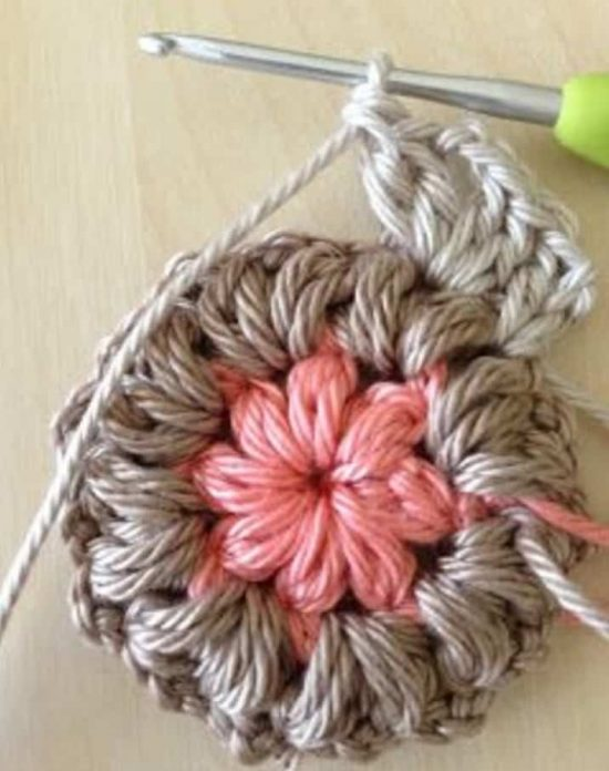 Crochet Puff Flower Granny Square
